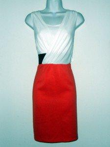Sandra Darren Dress Sz 12 Coral Ivory Black Surplice Stretch Sheath Illusion NWT