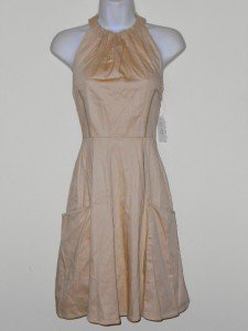 Jessica Simpson Dress Size 4 Beige Taupe Halter Cotton Flare Pockets Retro NWT