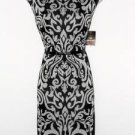 Sandra Darren Dress Size 12 Black Ivory Scroll Print Sheath Faux Leather NWT