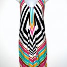 London Times Dress Size Sz 8 Sleeveless Geometric Stripe Colorful Jersey NWT