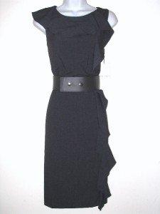 Calvin Klein CK Dress Size Sz 10 Charcoal Gray Sheath Ruffle Belt NWT New