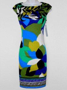 London Times Dress Size 8 Knit Sheath Blue Green Purple Abstract Print NWT