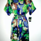 Gabby Skye Dress Size Sz 8 Blue Green Watercolor Print Silky Belt NWT