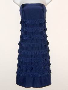Gap Dress Size 4 Navy Blue Ruffles Tiered Strapless Silk Cotton Boho NWT $78