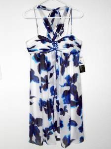 SL Fashions Dress Size 10 Watercolor Floral Print Babydoll Chiffon NWT $128