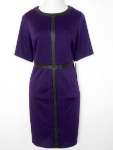 Connected Apparel Dress Size 24W Purple Black Faux Leather Trim Career NWT