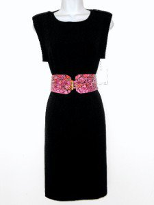 Calvin Klein Black Dress Size Sz 4 Stretch Sheath Pink Snakeskin Belt NWT