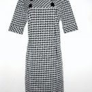Rabbit Designs Dress Size 10 Shift Black White Houndstooth Retro New