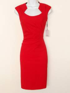 Calvin Klein Dress Size 12 Red Ruched Stretch Sheath Cocktail Career NWT