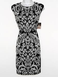 Sandra Darren Dress Size 16 Black Ivory Scroll Print Sheath Faux Leather NWT