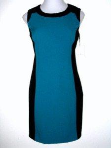 Calvin Klein CK Dress Size Sz 8 Teal Blue Black Colorblock Stripe Sheath NWT New
