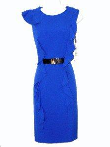 Calvin Klein CK Dress Size Sz 4 Sheath Blue Ruffle Career Cocktail Belt NWT