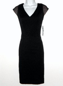 Maggy London Black Dress Size 8 Stretch Nude Mesh Panels Cap Sleeve NWT