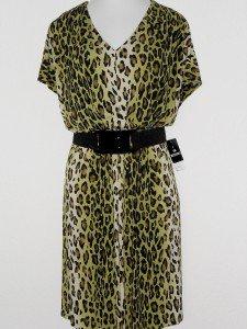 Sandra Darren Dress Size 14W Green Black Leopard Animal Print Belt Blouson NWT