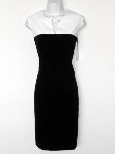 Calvin Klein Dress Size 10 Black White Stretch Sheath Keyhole Career Cocktail