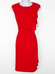 Calvin Klein Dress Size 6 Red Ruffle Stretch Sheath Career Cocktail NWT