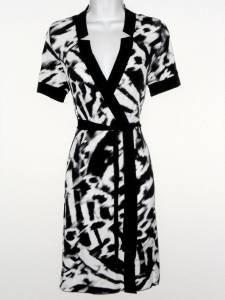 Calvin Klein Dress Size XS Faux Wrap Black White Animal Print Stretch NWT