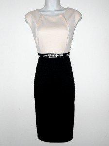 Connected Apparel Dress Size Sz 8 Sheath Ivory Black Knit Snake Belt Career New