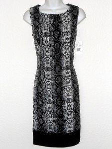 Ronni Nicole Dress Size 10 Gray Black Snakeskin Print Stretch Sheath NWT