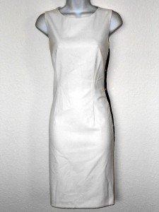 Calvin Klein CK Dress Size 6 Sheath Ivory Black Faux Leather Stripes Snaps NWT