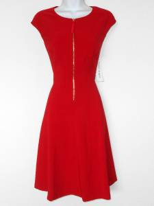 Maggy London Red Dress Size 14 Stretch Retro Fit & Flare Gold Zipper NWT