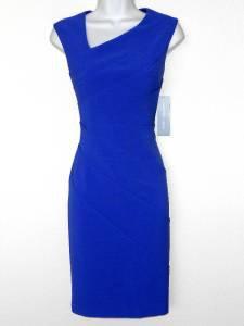 London Times Dress Size 12 Bright Blue Starburst Asymmetrical Stretch Sheath