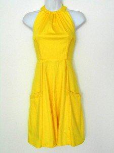 Jessica Simpson Dress Size 10 Lemon Yellow Halter Cotton Flare Pockets Retro NWT