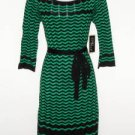 Julian Taylor Sweater Dress Large L Green Black Zigzag Stripe Belt Boho NWT