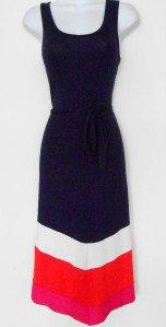 Design History Dress Medium M Navy Blue Pink Coral Block Stripe Belt Boho NWT