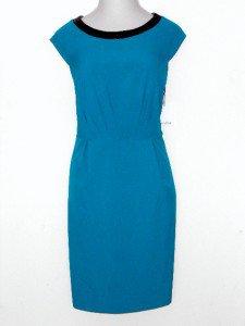 Calvin Klein CK Dress Sz 24W Blue Black Faux Leather Trim Stretch Sheath NWT