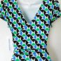 Maggy London Dress Size 10 Blue Green Black Geometric Print Ruched Stretch NWT