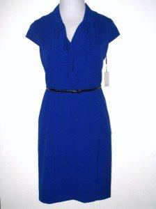 Calvin Klein CK Dress Size Sz 14 Sheath Royal Blue Ruffle Career Cocktail New