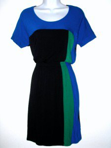 DKNYC Dress Large L Black Blue Green Geometric Colorblock Knit Blouson NWT
