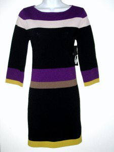 Nine West Sweater Dress Size Sz PL Black Purple Green Striped Knit NWT