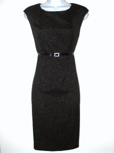 Connected Apparel Dress Size 10P Sheath Black Silver Shimmer Belt Career