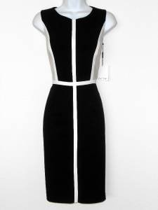 Calvin Klein Dress Size 2 Black Beige White Colorblock Stretch Sheath New