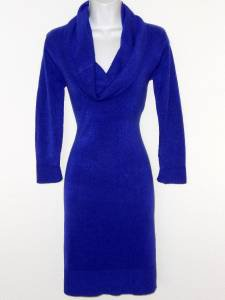 Connected Apparel Sweater Dress Small S Bright Blue Cowl Neck Knit New