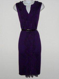 Connected Apparel Dress Sz 10 Eggplant Purple Knit Sheath Ruffle Snake Belt New