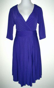BCBG Max Azria Dress Size Large Lrg L Faux Wrap Purple Blue Pleated Belt NWT