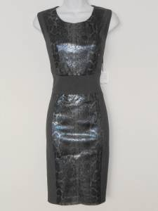 Calvin Klein Dress Size 12 Gray Silver Snakeskin Sequins Stretch Sheath New