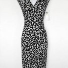 London Times Dress Size 12 Black White Polka Dot Print Ruched Stretch NWT