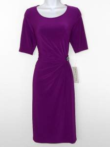 Evan Picone Dress Size 10 Berry Purple Gathered Stretch Jersey NWT