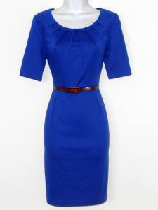 Connected Apparel Dress Size 10P Royal Blue Knit Pleated Belt Career New