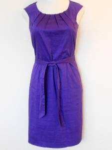 Calvin Klein Dress Size 14 Grape Purple Cotton Stretch Sheath Tie Belt NWT