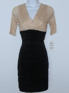 Sangria Dress Size 6P Gold Black Shimmer Shutter Pleat Stretch Cocktail NWT