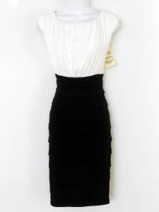 Sangria Dress Size 10 Black Ivory Shutter Pleat Stretch Cocktail NWT
