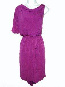 Jessica Simpson Dress Size 6 Magenta Pink One Sleeve Draped Jersey Belt NWT