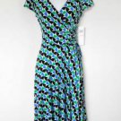 Maggy London Dress Size 12 Blue Green Black Geometric Print Ruched Stretch NWT