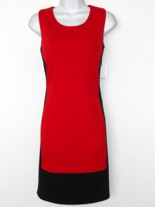 Calvin Klein Dress Size 10 Red Black Colorblock Knit Sheath Zippers NWT