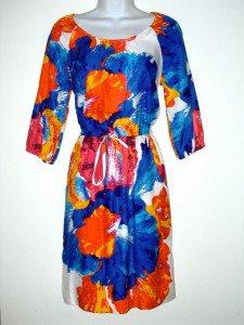 ECI NY New York Dress Size Sz 6 Silky Blouson Watercolor Floral Print New